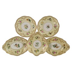 Copeland & Garrett Porcelain Dessert Set, Yellow with Butterflies, 1833-1847