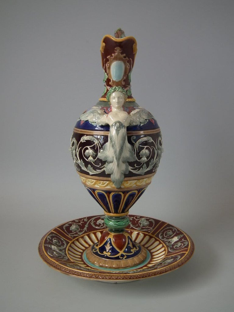 Copeland Majolica Renaissance Style Ewer And Stand For