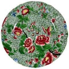 Copeland Spode 1800s New Fayence King Chintz Pattern Transferware Floral Plate