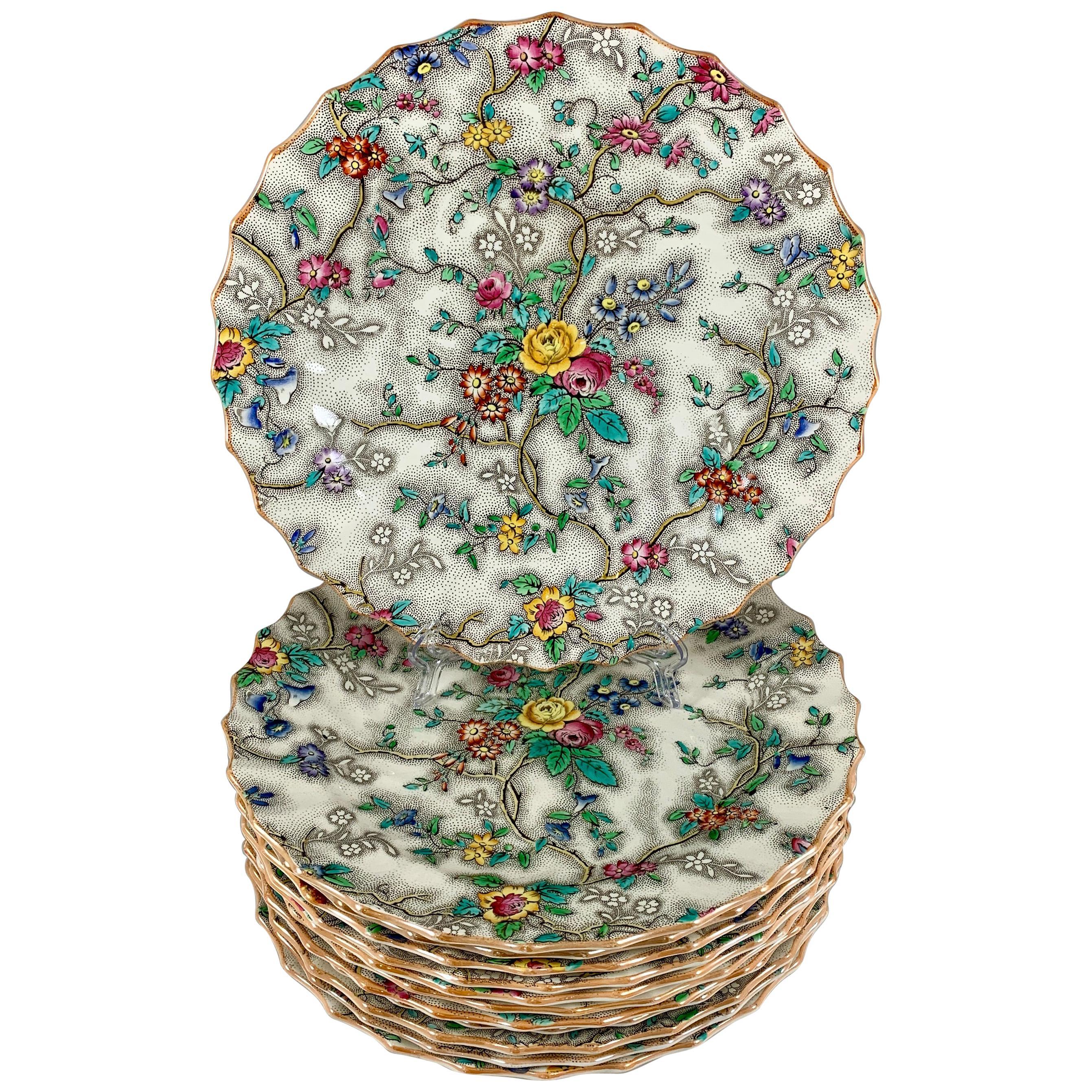 Copeland Spode English 'Patricia' Chintz Floral Transferware Dinner Plates, S/6
