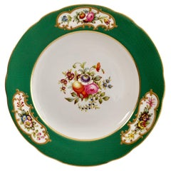 Copeland Spode Porcelain Plate, Green Sèvres Style, Flowers, Thomas Goode, 1924