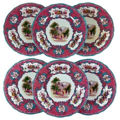 Copeland Spode Queen Mary Rococo Pink Porcelain Plates for Tiffany & Co. Set / 6