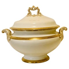 Copeland Spode Soup Tureen with Gold Border and White Jeweling Made for T. Goode