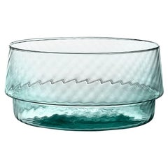 Coppa Multipot25, Bowl Handcrafted Muranese Glass, Aquamarine Twisted MUN by VG