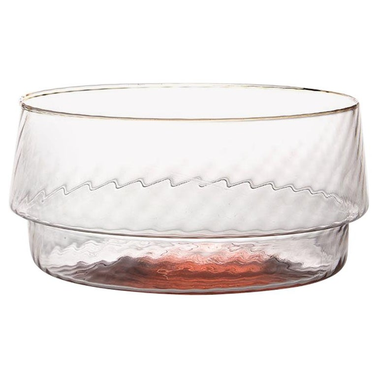 Coppa Multipot25, Bowl Handcrafted Muranese Glass, Rose Quartz Twisted MUN by VG For Sale