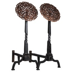 Copper and Blackened Wrought Iron Andirons, circa 1900