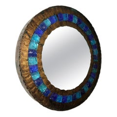 Copper and Blue Gass Italian Mirror