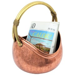 Copper and Brass Basket Magazine Stand or Log Holder with Rope Detail