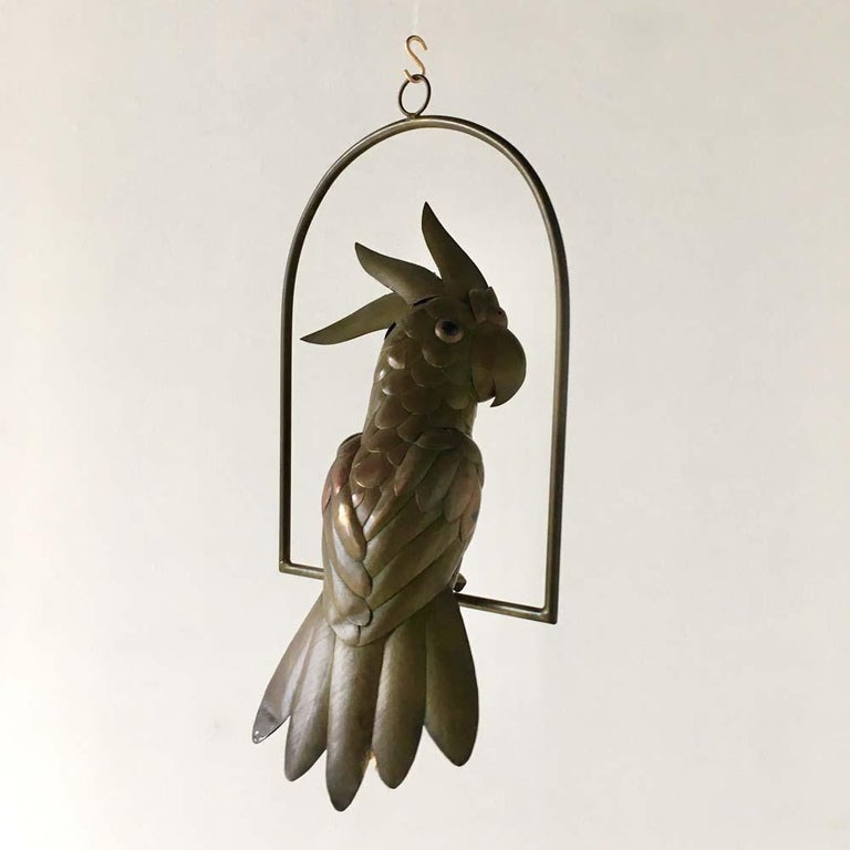 Copper and brass cockatoo on an arch hanging stand by Sergio Bustamante, 1960s. 