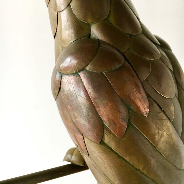 Copper and Brass Cockatoo by Sergio Bustamante, 1960s In Good Condition For Sale In London, GB