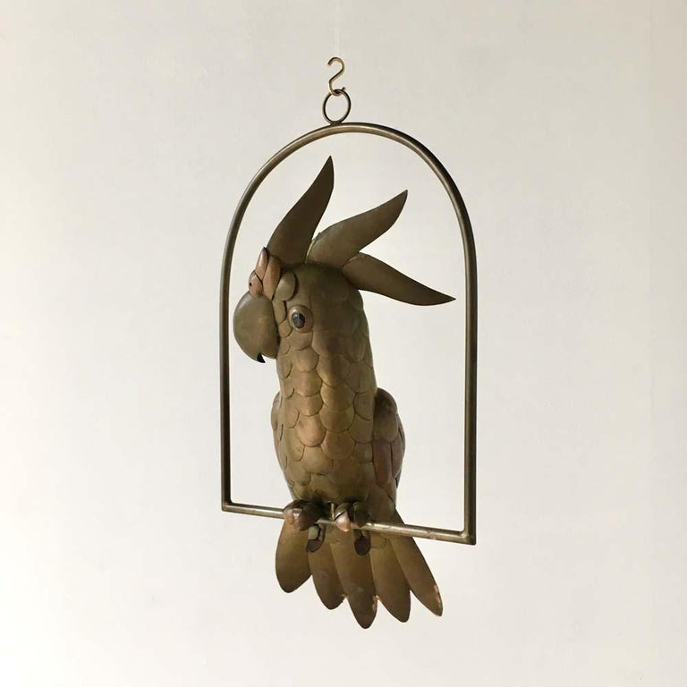 Mid-20th Century Copper and Brass Cockatoo by Sergio Bustamante, 1960s For Sale