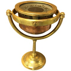 Copper and Brass Gimballed Nautical Compass, English