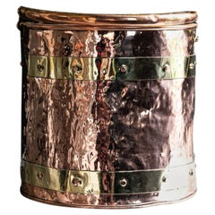 Copper and Brass Riveted Coal Bucket, Late 19th Century