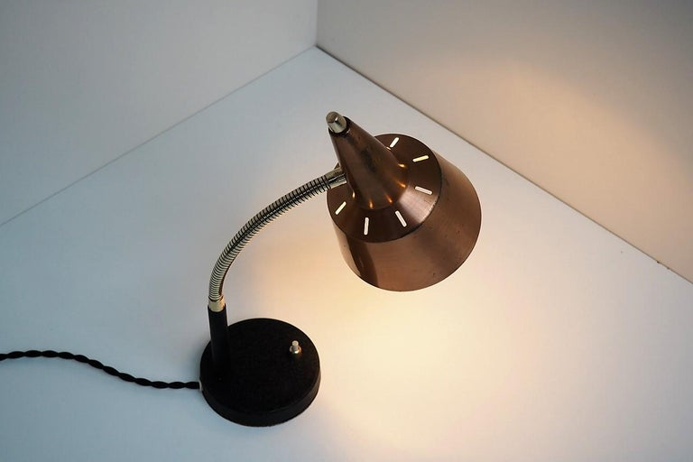 Lacquered Copper and Brass Table Lamp in the Style of Lyfa, Modern Design from the 1950s For Sale
