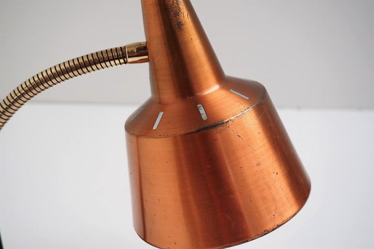Metal Copper and Brass Table Lamp in the Style of Lyfa, Modern Design from the 1950s For Sale