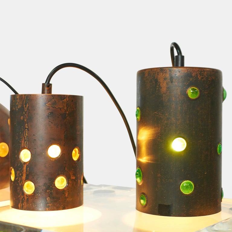 Danish Copper and Glass Pendants by Nanny Still For Sale