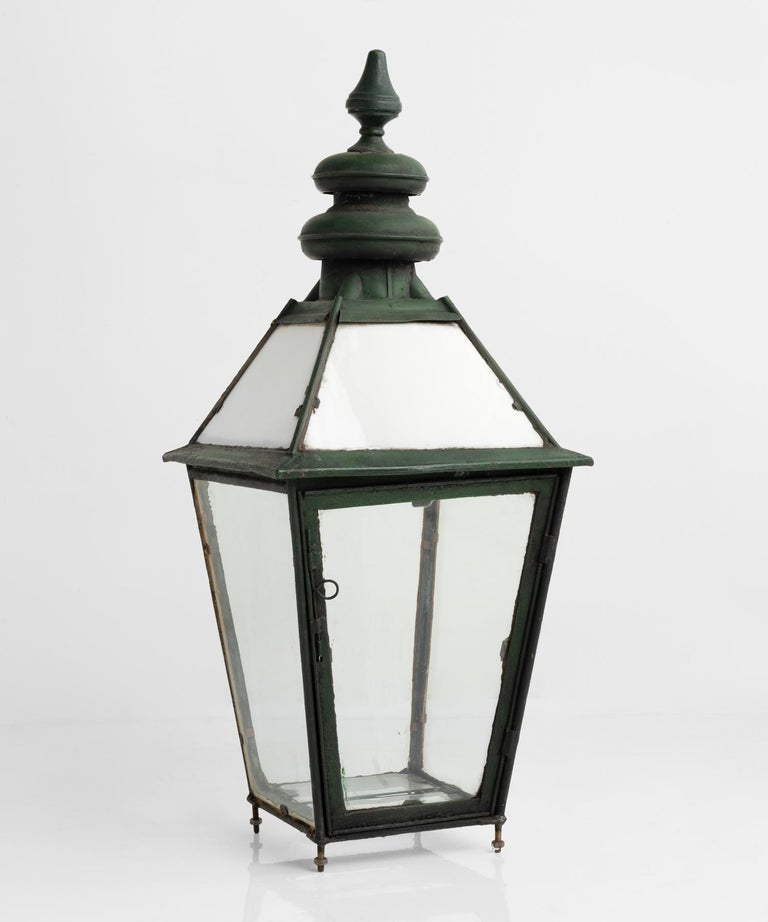 Copper and milk glass lantern, England, circa 1870.  Tall verdigris copper lantern with original milk glass panels in the top section, and clear glass beneath.