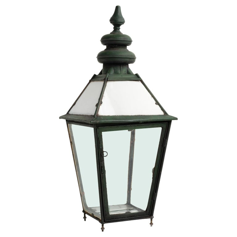 Copper and Milk Glass Lantern, England, circa 1870 For Sale