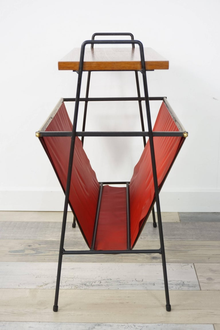 Mid-Century Modern Copper and Wooden Teak Side Table with Magazine Rack from the 1950s