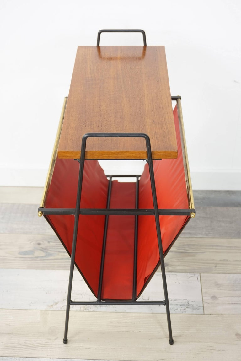 Belgian Copper and Wooden Teak Side Table with Magazine Rack from the 1950s