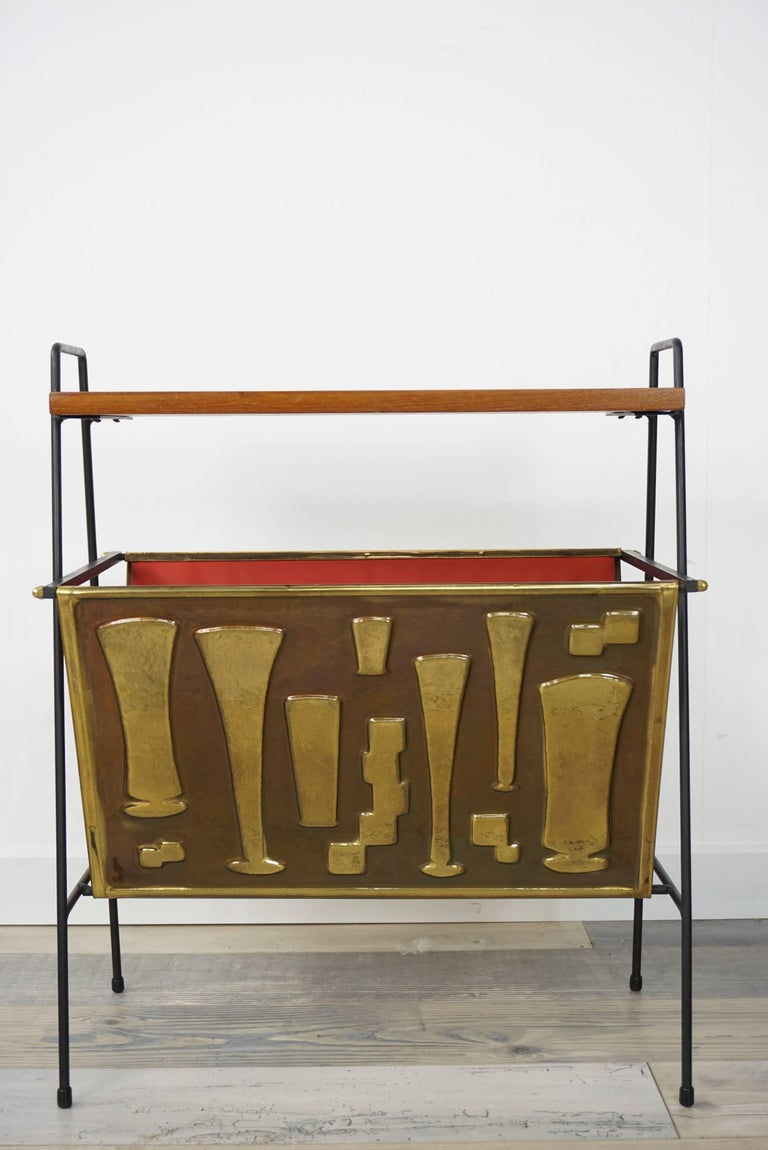 Mid-20th Century Copper and Wooden Teak Side Table with Magazine Rack from the 1950s