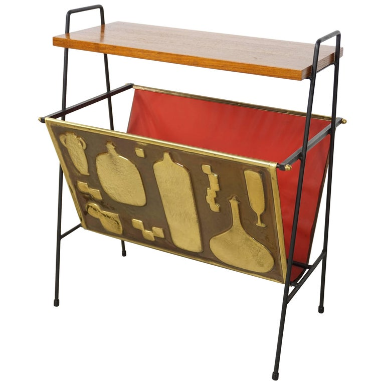 Copper and Wooden Teak Side Table with Magazine Rack from the 1950s