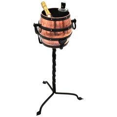Copper Barrel Ice Bucket Champagne Cooler on Hand Forged Iron Stand