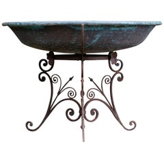 Copper Basin with Antique Scroll Base