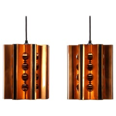 Copper and Black Pendant Pair by Danish Coronell in the 1970s