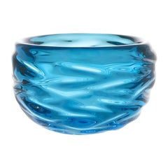 Copper Blue Happy Bowl, Hand Blown Glass by Siemon & Salazar - Available Now