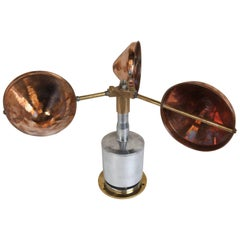 Copper, Brass and Chrome Ship's Anemometer, Midcentury