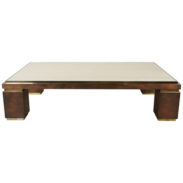 Copper Top Rectangular Coffee Table: Copper, Brass And Travertine Large And Rectangular Coffee