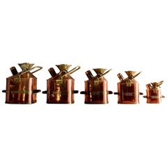 Copper & Brass Measuring Cans Monmouthshire County Council Set of 5 1931
