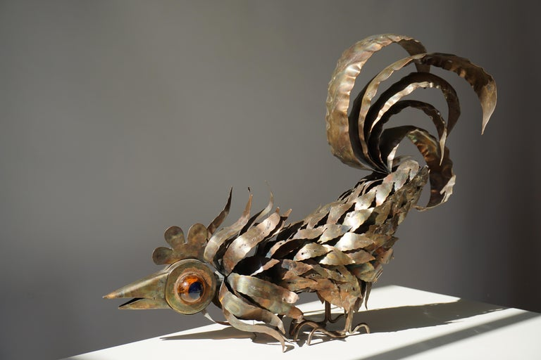 Copper Brutalist Sculpture of a Rooster For Sale 6