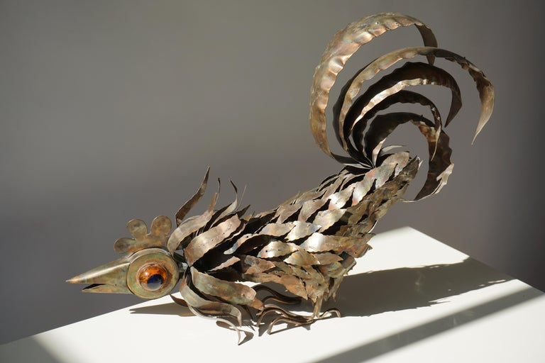 Copper Brutalist Sculpture of a Rooster For Sale 7