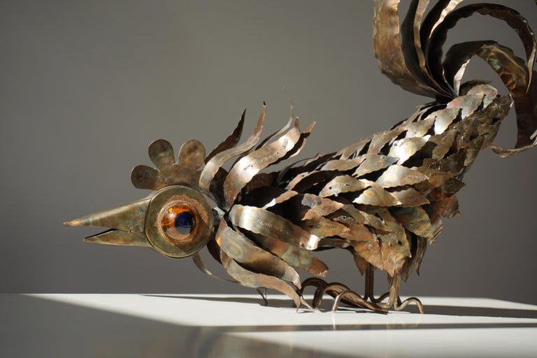 Copper Brutalist Sculpture of a Rooster For Sale 8