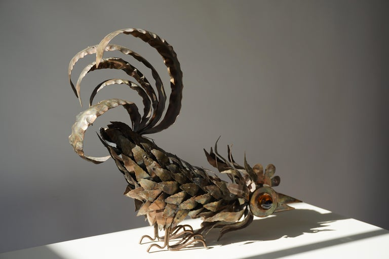 Copper Brutalist Sculpture of a Rooster For Sale 9