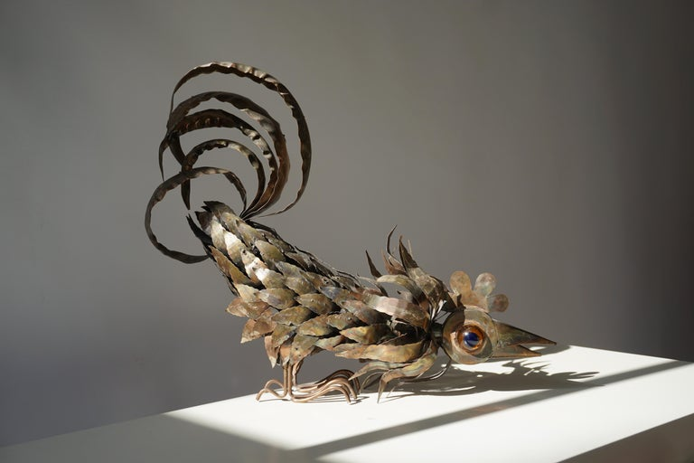 Copper Brutalist Sculpture of a Rooster For Sale 11