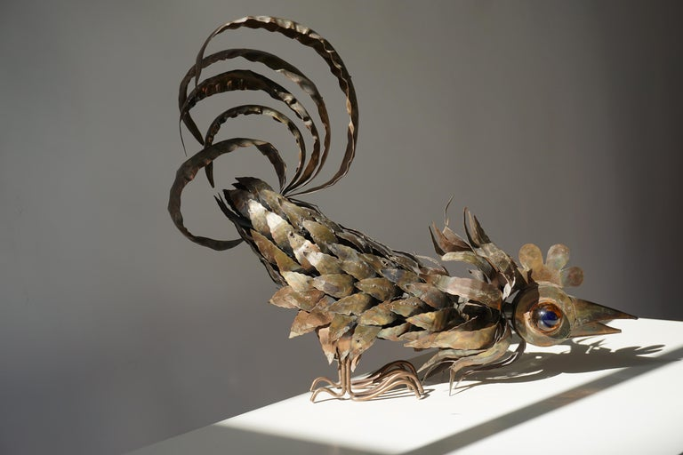 Copper Brutalist Sculpture of a Rooster For Sale 12