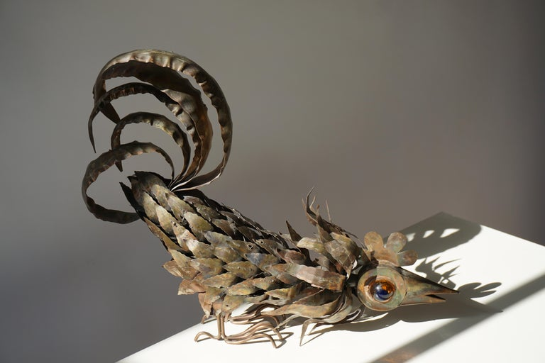 Copper Brutalist Sculpture of a Rooster For Sale 13