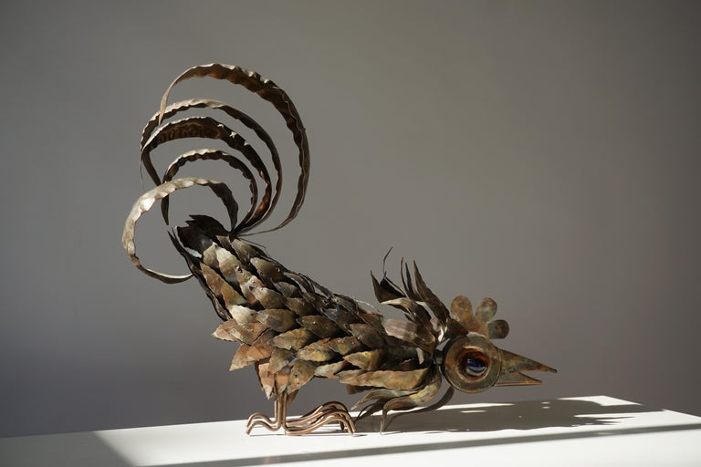 Mid-Century Modern Copper Brutalist Sculpture of a Rooster For Sale