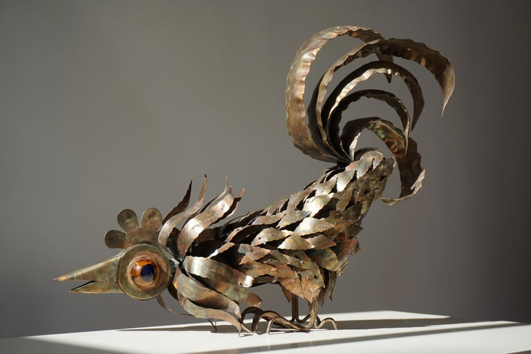 Copper Brutalist Sculpture of a Rooster In Good Condition For Sale In Antwerp, BE