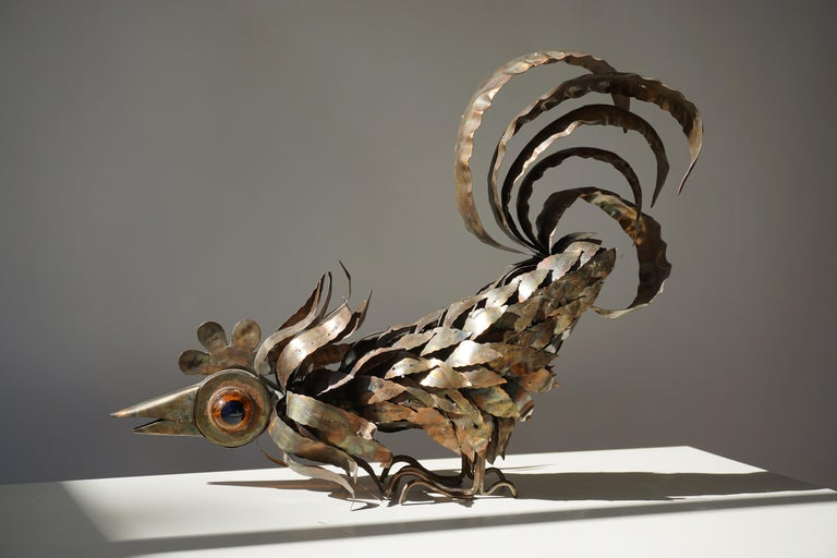 Brass Copper Brutalist Sculpture of a Rooster For Sale