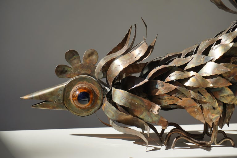 Copper Brutalist Sculpture of a Rooster For Sale 1