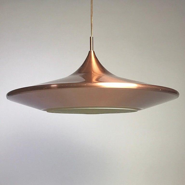 Scandinavian Modern Copper Ceiling Light by Ejnar Mielby for Lyfa, Denmark, 1974 For Sale