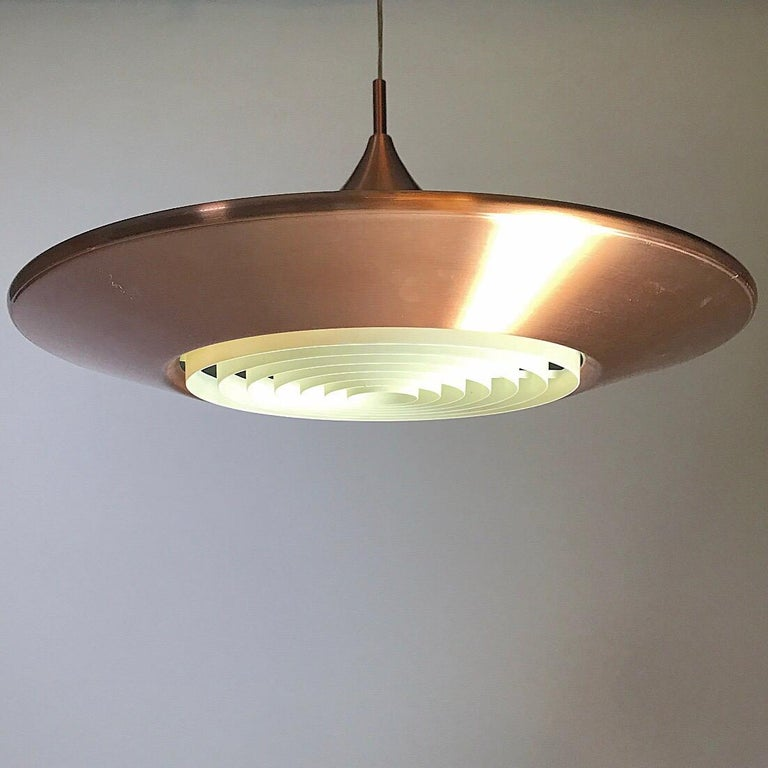 Copper Ceiling Light by Ejnar Mielby for Lyfa, Denmark, 1974 In Good Condition For Sale In Haderslev, DK