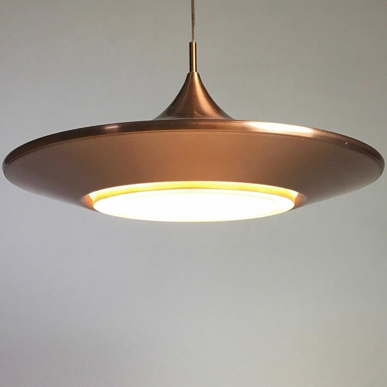 Copper Ceiling Light by Ejnar Mielby for Lyfa, Denmark, 1974 For Sale 1
