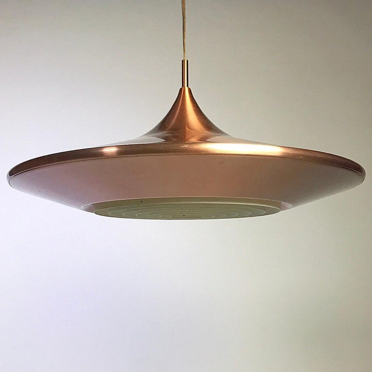 Copper Ceiling Light by Ejnar Mielby for Lyfa, Denmark, 1974 For Sale 2