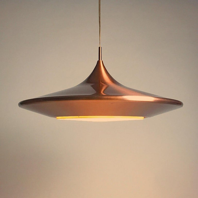 Copper Ceiling Light by Ejnar Mielby for Lyfa, Denmark, 1974 For Sale 3