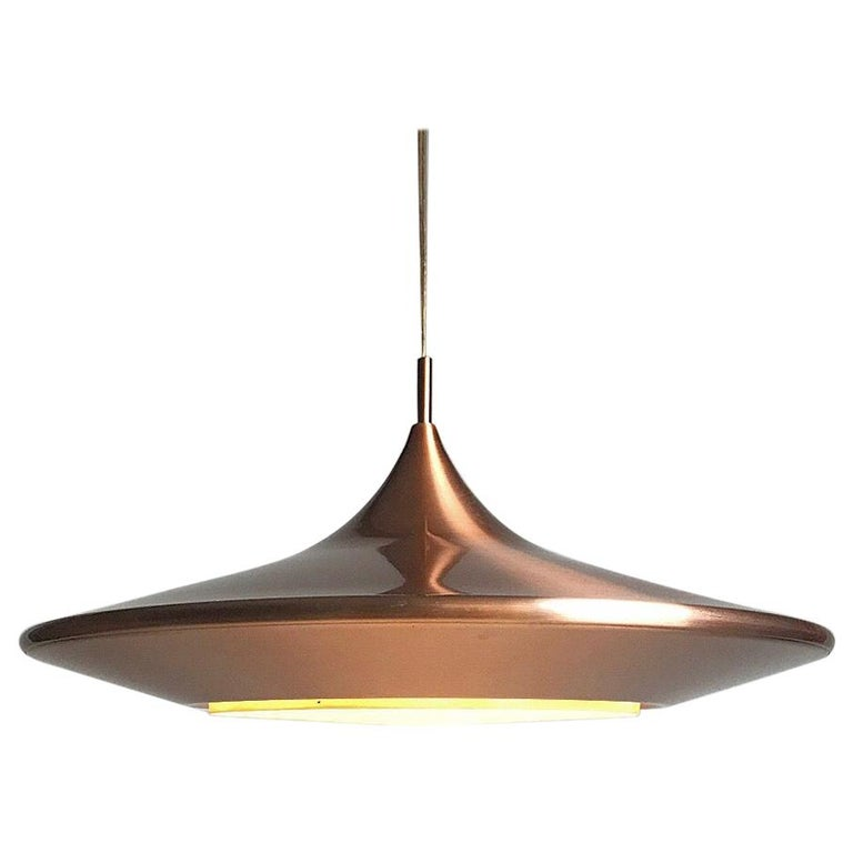 Copper Ceiling Light by Ejnar Mielby for Lyfa, Denmark, 1974 For Sale